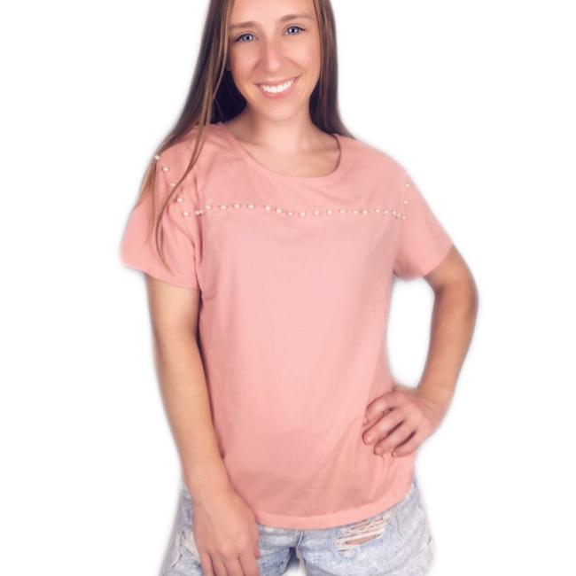 Item - Coral Pink Sleeve Pearl Studded Tee Shirt Size 8 (M)