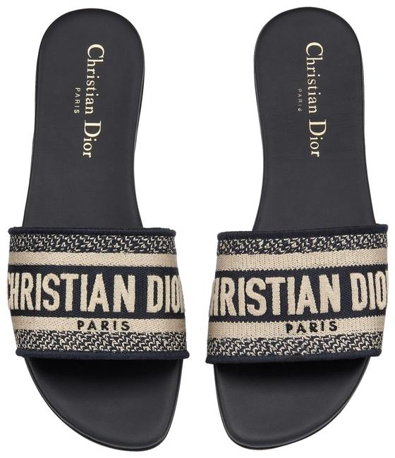 Item - Blue Christian Dway Deep White Embroidered Logo Slide Mule Flat Sandals Size EU 38 (Approx. US 8) Regular (M, B)