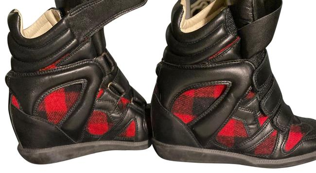 Item - Black/Red Wedges Boots/Booties Size US 7 Regular (M, B)