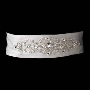 Elegance By Carbonneau White Crystal Wedding Dress Sash Belt