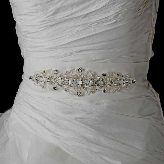 Elegance by Carbonneau White/Silver Crystal Dress Belt Sash