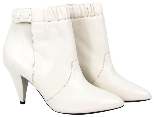 Item - White Ruched Leather Button Ankle Boots/Booties Size EU 36 (Approx. US 6) Regular (M, B)