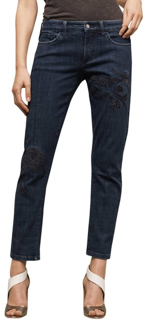Item - Blue Dark Rinse Pilcro Hyphen Mid-rise Floral Embroidered Boyfriend Cut Jeans Size 27 (4, S)
