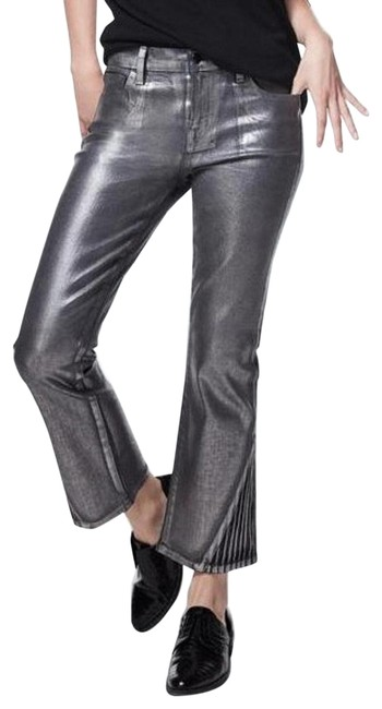 Item - Silver Coated Selena Foiled Chrome Mid Rise Crop Boot Cut Jeans Size 24 (0, XS)