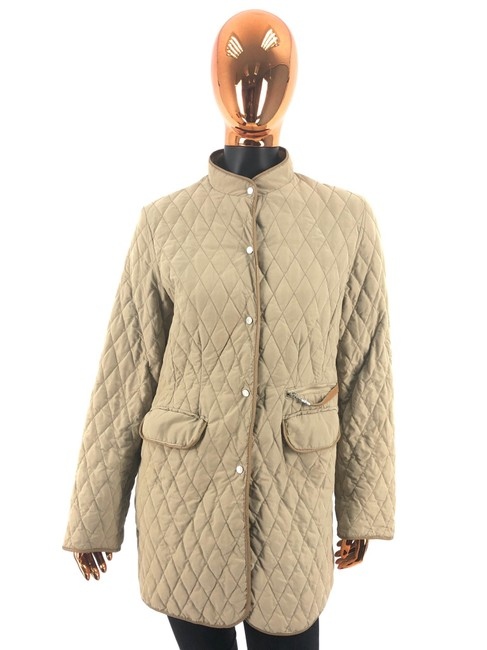 Item - Beige Womens Polyester Quilted Jacket Coat Size 12 (L)