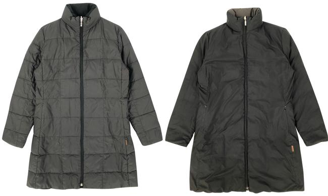 Item - Grey Womens Black / Polyester Reversible Puffer / Down Jacket Coat Size 12 (L)