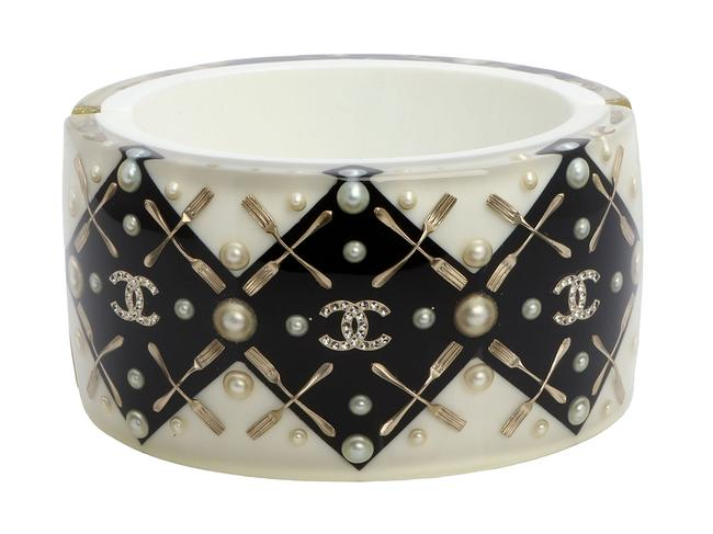 Item - White And Black Resin and Crystal Coco Brasserie Cc Fork Cuff Bracelet