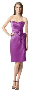 Dessy Knee Length Strapless Satin Dress
