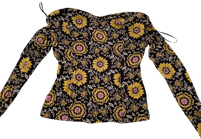 Item - Tie Tube Black and Yellow Flora Top