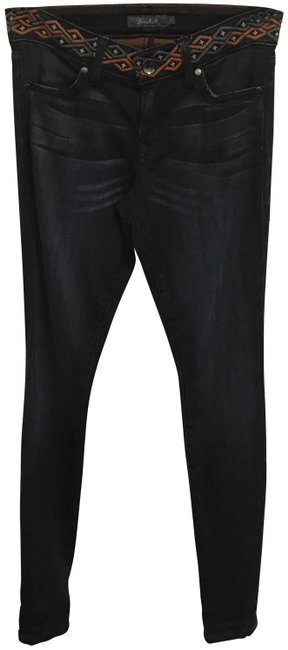 Item - Blue Dark Rinse Embroidered Top Skinny Jeans Size 27 (4, S)