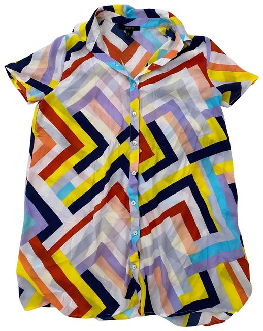 Forever 21 Geometric Multicolor Collar Button Up Shift Short Casual Dress Size 6 (S) Forever 21 Geometric Multicolor Collar Button Up Shift Short Casual Dress Size 6 (S) Image 1