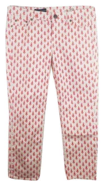 Item - Pink & White Light Wash Matchstick Tulip Print Capri/Cropped Jeans Size 29 (6, M)