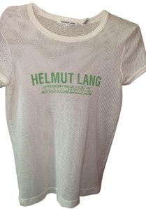 Helmut Lang T Shirt white with green lettering