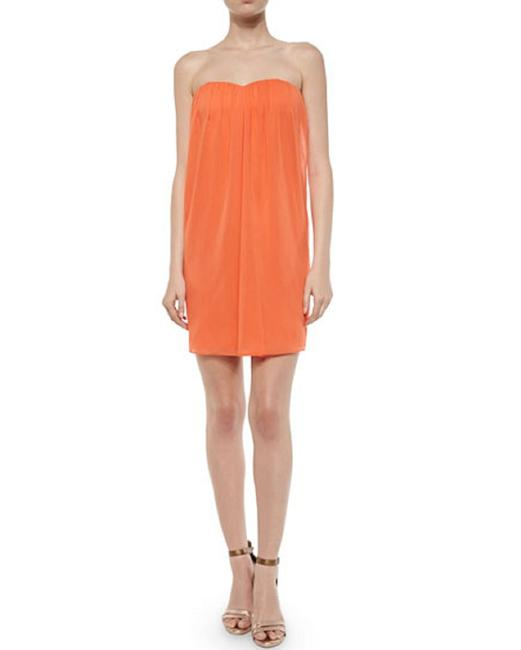 Item - Coral Jazz Center Drape Strapless Coral/Salmon/Peach Mini with A Sweet Short Cocktail Dress Size 2 (XS)