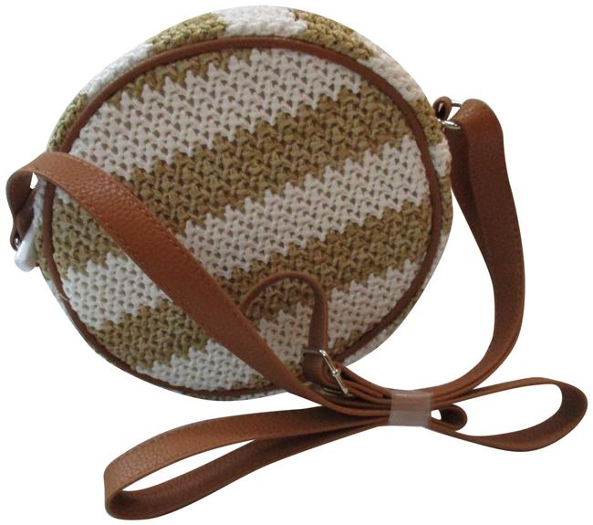 Item - Roundabout Canteen White Striped Taupe Straw Cross Body Bag
