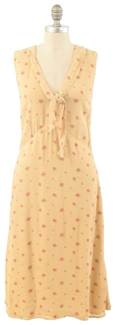 Item - Tan Pussy Bow Mid-length Cocktail Dress Size 4 (S)