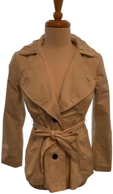 Item - Cream Wide Lapel Buton Down and Belted Jacket Coat Size 2 (XS)