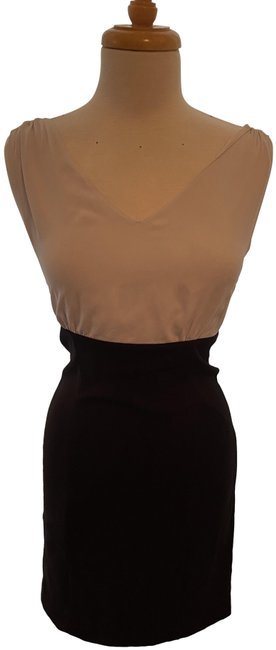 Item - Black With White Top Career Mid-length Work/Office Dress Size 4 (S)