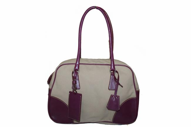 Item - Canapa With Leather Bowling Beige & Burgundy Canvas Shoulder Bag