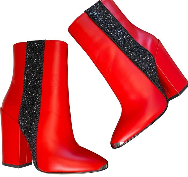 Item - Red and Black Glitter Boots/Booties Size US 7 Regular (M, B)
