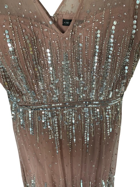 Item - Dusty Rose with Silver Sequins Mid-length Cocktail Dress Size 12 (L)
