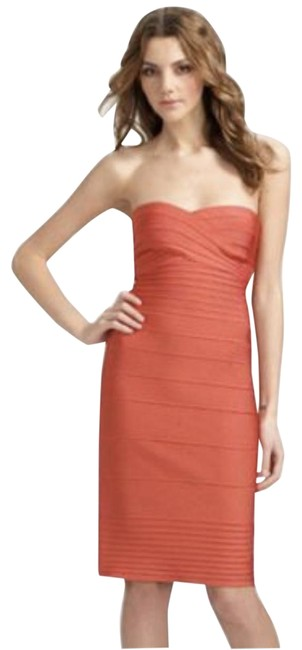Item - Chili / Coral Strapless Short Cocktail Dress Size 6 (S)