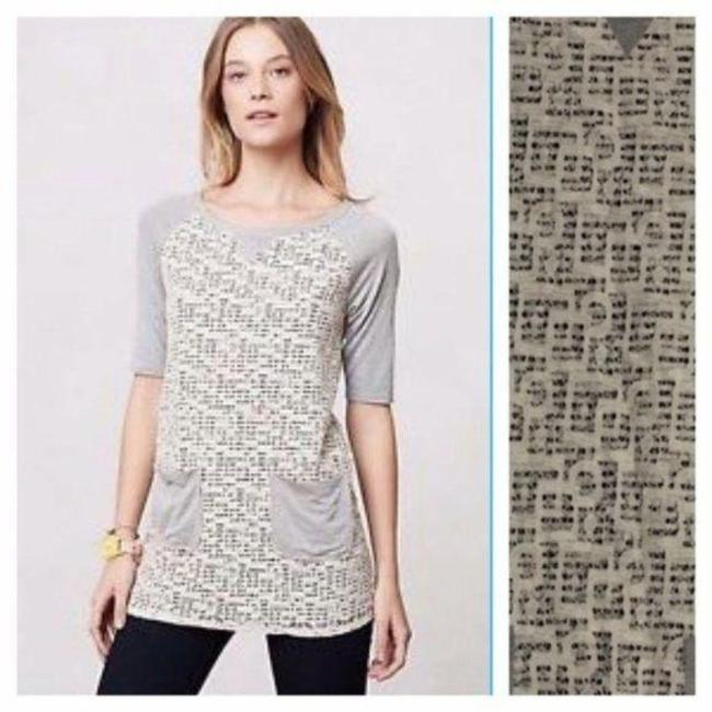 Weston Wear Gray Black Anthropologie with Lace Overlay Tee Shirt Size 8 (M) Weston Wear Gray Black Anthropologie with Lace Overlay Tee Shirt Size 8 (M) Image 1