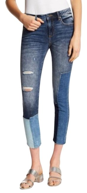 Item - Blue Distressed Patchwork Ankle Skinny Jeans Size 26 (2, XS)