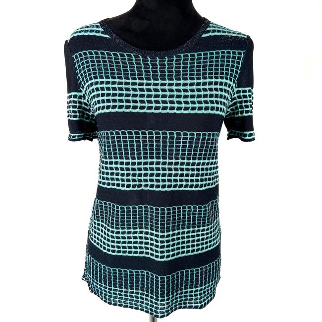 Item - Black / Green Metallic Check Short Sleeve Blouse Size 6 (S)
