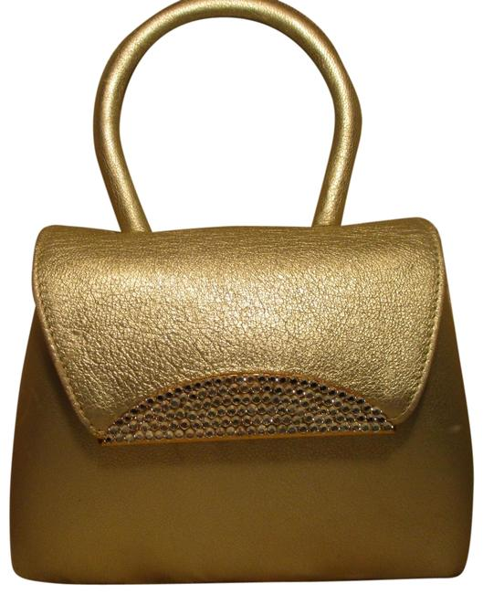 Item - Clutch With Crystals Evening Gold Leather Cross Body Bag