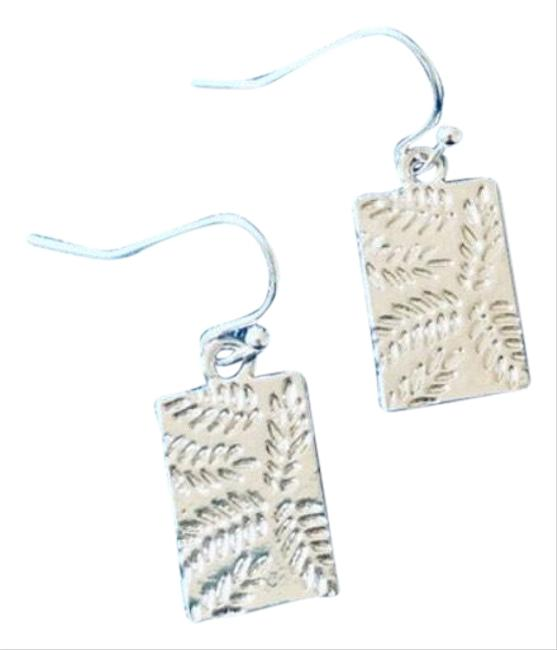 Item - Silver Leaf Stamped Rectangle Earrings