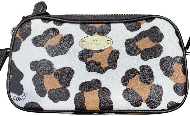 Item - Unknow White Leopard Print Leather Cross Body Bag