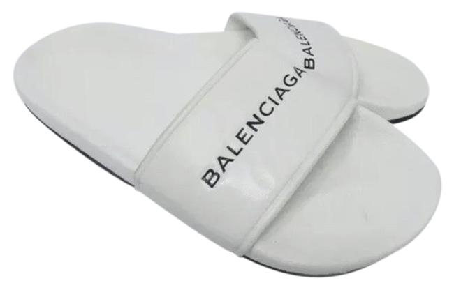 Item - White Leather / Rubber Pool Slide Sandals Size EU 45 (Approx. US 15) Regular (M, B)