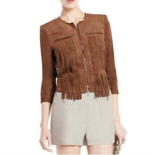 Item - Brown Toffee Fringe Reiss Jacket Size 4 (S)
