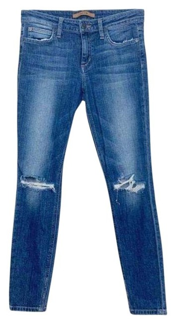 Item - Blue Distressed Icon Ankle Mid Rise Skinny Jeans Size 27 (4, S)