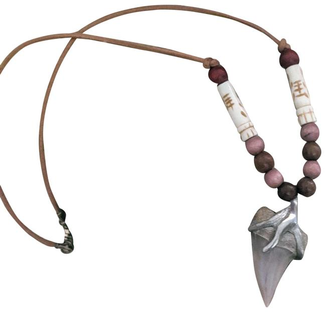 Item - Gray One Of A Kind Silver Leather Bone Wood N002 Necklace