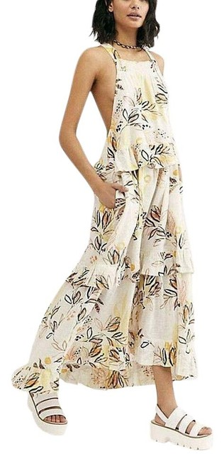 Item - Ivory Combo Anita Bohemian Floral Tiered Ruffle Long Casual Maxi Dress Size 6 (S)
