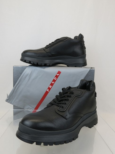 Item - Black 4t3348 Leather Lace Up Sheerling Hiking Short Boots 10.5 Us 11.5 Shoes