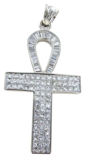 Morningstars Jewelers 18KT WHITE GOLD PENDANT CHARM KEY OF LIFE DIAMOND 20.2DWT EGYPTIAN ANKH EGYPT