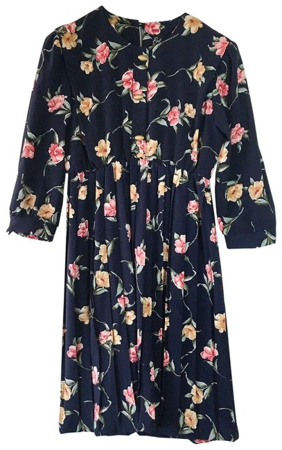 Item - Navy Vintage Cuffed Long Sleeve Pleated Floral Mid-length Short Casual Dress Size 6 (S)