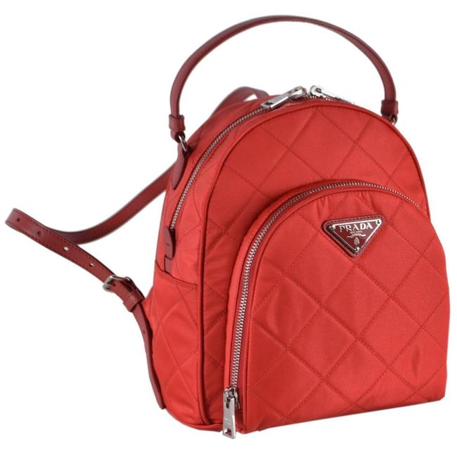 Item - Quilted Tessuto Rosso Zaino 1bz066 Red Nylon Backpack