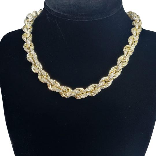 Preload https://img-static.tradesy.com/item/27732343/custom-made-18-14kt-gold-finished-icedout-rope-chain-necklace-0-1-540-540.jpg
