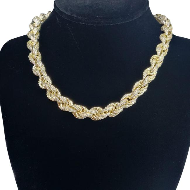 "Custom Made 18"" 14kt Gold Finished Icedout Rope Chain Necklace Custom Made 18"" 14kt Gold Finished Icedout Rope Chain Necklace Image 1"