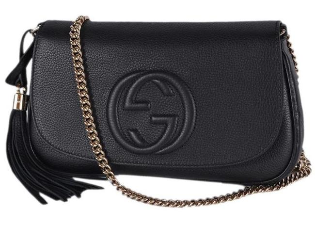 Gucci Soho Flap New Gg Black Leather Cross Body Bag Gucci Soho Flap New Gg Black Leather Cross Body Bag Image 1