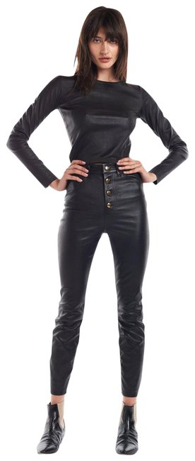 "Item - New Black Lambskin Leather ""Gold Button"" 5 Pocket High Waisted Pants Size 8 (M, 29, 30)"