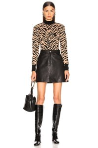 SPRWMN Lambskin Leather Mini A-line Mini Skirt New Sold Out Black
