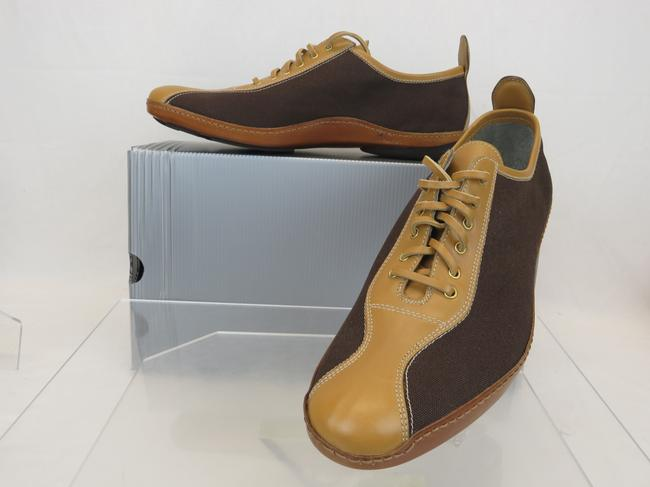 Item - Brown 4e0202 Teak Leather Canvas Low Heel Sneakers 9.5 / Us 10.5 Italy Shoes