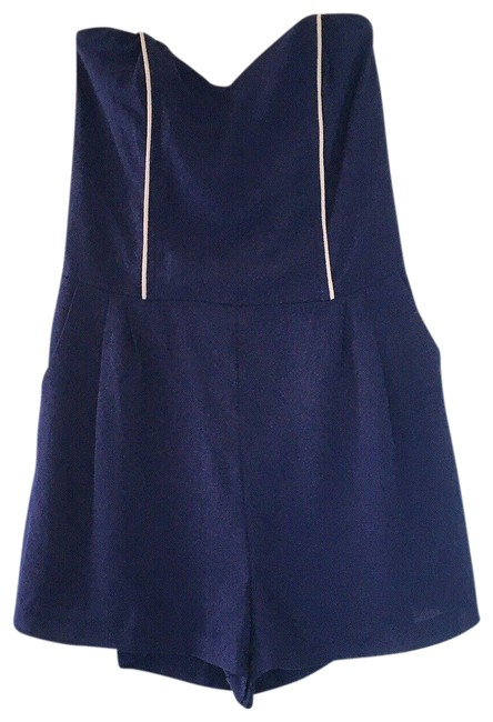 Item - Navy / Nude Blue Sweetheart with Pockets Large Romper/Jumpsuit