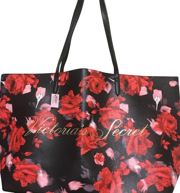 Item - Bag Limited Edition 2019 Large Floral Rose Red and Black Faux Leather Tote