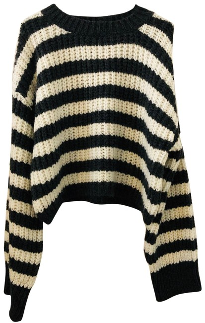 Topshop Striped Gray White Sweater Topshop Striped Gray White Sweater Image 1